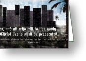 Bible Scripture Canvas Greeting Cards - Be advised Greeting Card by Greg Long