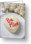 Heart-shape Greeting Cards - Be mine heart cake Greeting Card by Garry Gay