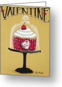 Cherries Greeting Cards - Be Mine Valentine Greeting Card by Catherine Holman