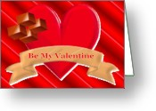 Pencil Drawing Digital Art Greeting Cards - Be My Valentine Greeting Card by Garry Staranchuk
