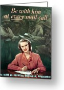 Mail Greeting Cards - Be With Him At Every Mail Call Greeting Card by War Is Hell Store