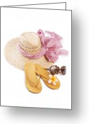 Footwear Greeting Cards - Beach Accessories Greeting Card by Atiketta Sangasaeng