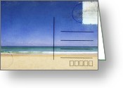 Backside Greeting Cards - Beach And Blue Sky On Postcard  Greeting Card by Setsiri Silapasuwanchai