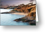 Cornwall Greeting Cards - Beach And Castle In Uk Greeting Card by Ray Bradshaw