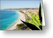 Nice Day Greeting Cards - Beach And Promenade Danglais, Nice, Cote Dazur, Greeting Card by John Harper