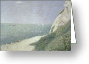 Pointillist Painting Greeting Cards - Beach at Bas Butin Greeting Card by Georges Pierre Seurat