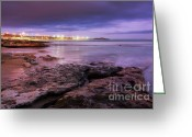 Pebbles Greeting Cards - Beach at dusk Greeting Card by Carlos Caetano