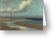 Puddle Painting Greeting Cards - Beach at Low Tide Greeting Card by Frederick Milner