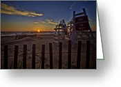 Lake Michgan Greeting Cards - Beach At Sunrise Greeting Card by Sven Brogren