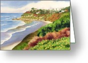Waves Painting Greeting Cards - Beach at Swamis Encinitas Greeting Card by Mary Helmreich