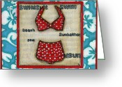 Debbie Brown Greeting Cards - Beach Attire Greeting Card by Debbie Brown