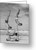 Human Interest Greeting Cards - Beach Balance Greeting Card by Fpg