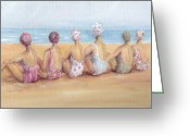 Chic Painting Greeting Cards - Beach Beauties Greeting Card by Gail McCormack