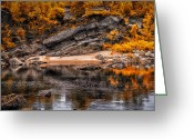 Rocks Greeting Cards - Beach before the waterfall Greeting Card by Bob Orsillo