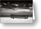 Caribbean Sea Greeting Cards - Beach Bench Greeting Card by David Bowman