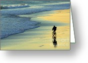 Cyclist Greeting Cards - Beach Biker Greeting Card by Carlos Caetano