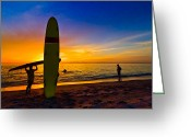 Sports Greeting Cards Greeting Cards - Beach Boys Greeting Card by Debra and Dave Vanderlaan
