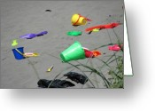 Kids At Play Greeting Cards - Beach Buckets Greeting Card by Gregory Smith