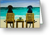 Black Lab Greeting Cards - Beach Bums Greeting Card by Roger Wedegis