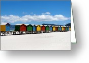 Cape Greeting Cards - Beach cabins  Greeting Card by Fabrizio Troiani