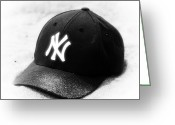 Ny Yankees Baseball Art Greeting Cards - Beach Cap black and white Greeting Card by John Rizzuto