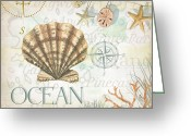 Compass Greeting Cards - Beach Collage B Greeting Card by Grace Pullen