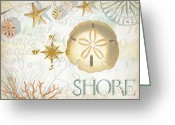 Compass Greeting Cards - Beach Collage D Greeting Card by Grace Pullen