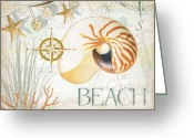 Compass Greeting Cards - Beach Collage Greeting Card by Grace Pullen