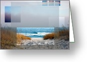 Sea Oats Digital Art Greeting Cards - Beach Collage Greeting Card by Steve Karol
