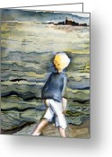Blonde Girl Greeting Cards - Beach Comber Greeting Card by Mindy Newman