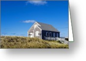 Ocean Front Greeting Cards - Beach Cottage Greeting Card by John Greim