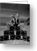 Fashion Model Photography Greeting Cards - Beach Dominoes Greeting Card by Fox Photos