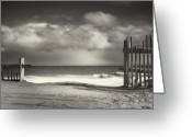 Creative Greeting Cards - Beach Fence - Wellfleet Cape Cod Greeting Card by Dapixara Art