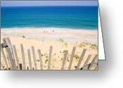 Seashore Greeting Cards - beach fence and ocean Cape Cod Greeting Card by Matt Suess