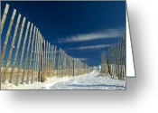 Cape Cod Mass Photo Greeting Cards - Beach fence and snow Greeting Card by Matt Suess