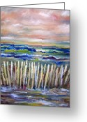 Patricia Taylor Greeting Cards - Beach Fence at Twilight Greeting Card by Patricia Taylor