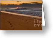 Oceania Greeting Cards - Beach footsteps at dawn Greeting Card by John Buxton