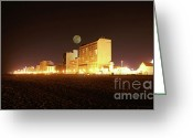Beach Photographs Greeting Cards - Beach full moon   Greeting Card by Christopher  Ward