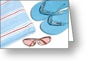 Beach Towel Photo Greeting Cards - Beach Holiday, Conceptual Image Greeting Card by Johnny Greig