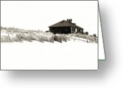 Black And White Photos Digital Art Greeting Cards - Beach House - Jersey Shore Greeting Card by Angie McKenzie