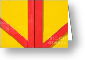 Red Lines Greeting Cards - Beach House - Red lines II Greeting Card by Hideaki Sakurai