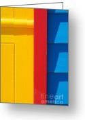 Melbourne Beach Greeting Cards - Beach House - Yellow Blue with Red line V Greeting Card by Hideaki Sakurai