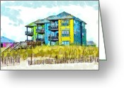 Atlantic Ocean Drawings Greeting Cards - Beach House at the Outer Banks Greeting Card by Anne Kitzman