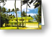 Ocean Front Greeting Cards - Beach House Greeting Card by Cheryl Young