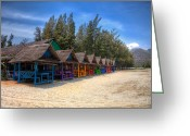 Asia Digital Art Greeting Cards - Beach Huts Greeting Card by Adrian Evans