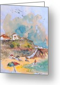 Portugal Art Greeting Cards - Beach in Ericeira in Portugal Greeting Card by Miki De Goodaboom