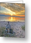 Inuksuk Greeting Cards - Beach Inuksuk Greeting Card by Brian Mollenkopf