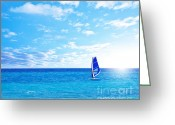 Surf Lifestyle Greeting Cards - Beach landscape with windsurfer playing Greeting Card by Anna Omelchenko