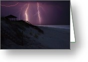 Carolina Greeting Cards - Beach Lighting Storm Greeting Card by Randy Steele