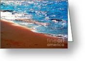 Surf Fishing Photo Greeting Cards - Beach Of Shimmering Light Greeting Card by Annie Zeno